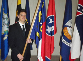 Nathan Barrick with Flags