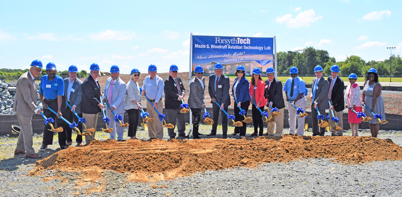 Commissioners Break Ground on Forsyth Tech Aviation Lab